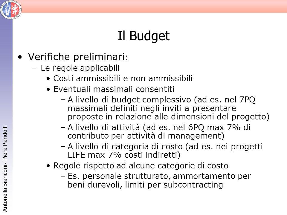 Antonella Bianconi - Piera Pandolfi Il Budget Verifiche preliminari : –Le regole applicabili Costi ammissibili e non ammissibili Eventuali massimali c