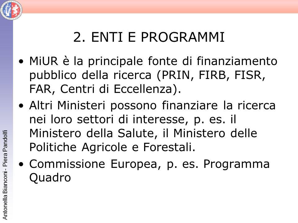 Antonella Bianconi - Piera Pandolfi 2. ENTI E PROGRAMMI MiUR è la principale fonte di finanziamento pubblico della ricerca (PRIN, FIRB, FISR, FAR, Cen