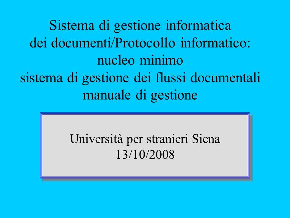 Sistema di gestione informatica dei documenti/Protocollo informatico: nucleo minimo sistema di gestione dei flussi documentali manuale di gestione Università per stranieri Siena 13/10/2008 Università per stranieri Siena 13/10/2008