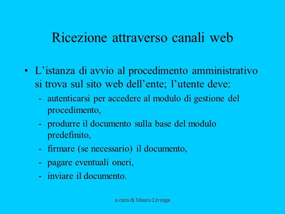 Ricezione attraverso canali web Listanza di avvio al procedimento amministrativo si trova sul sito web dellente; lutente deve: -autenticarsi per acced