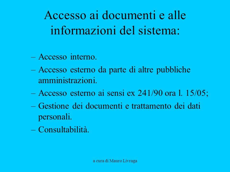 a cura di Mauro Livraga Accesso ai documenti e alle informazioni del sistema: –Accesso interno. –Accesso esterno da parte di altre pubbliche amministr