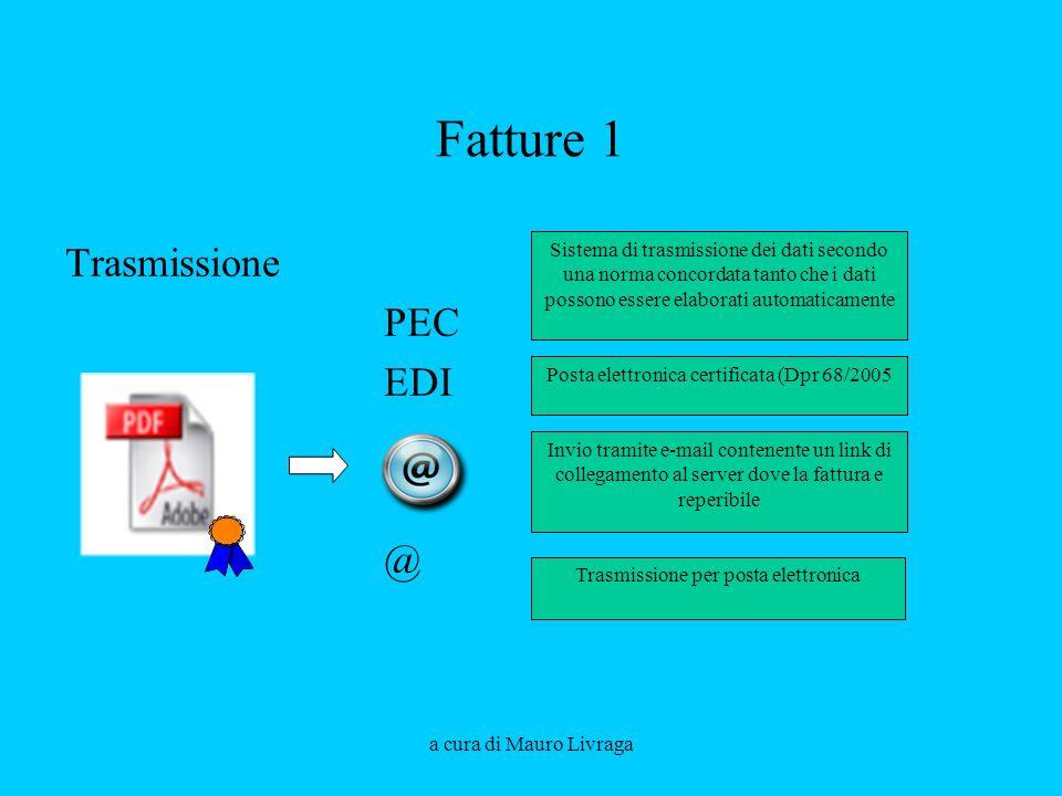 a cura di Mauro Livraga Fatture 1 Trasmissione PEC EDI @ Sistema di trasmissione dei dati secondo una norma concordata tanto che i dati possono essere