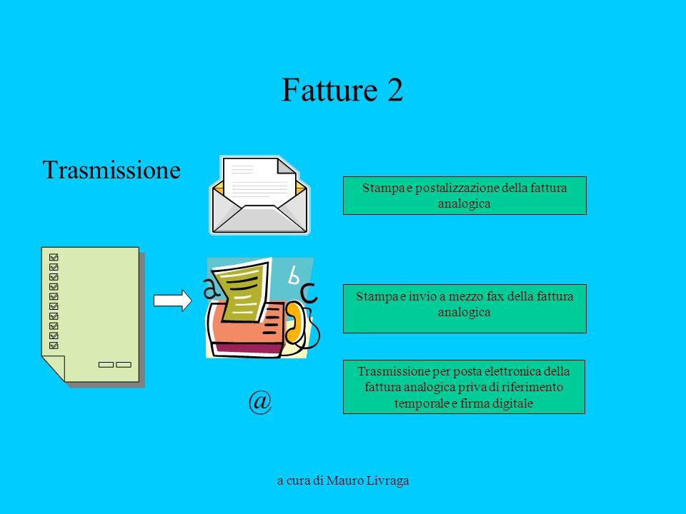 a cura di Mauro Livraga Fatture 2 Trasmissione @ Stampa e postalizzazione della fattura analogica Trasmissione per posta elettronica della fattura ana