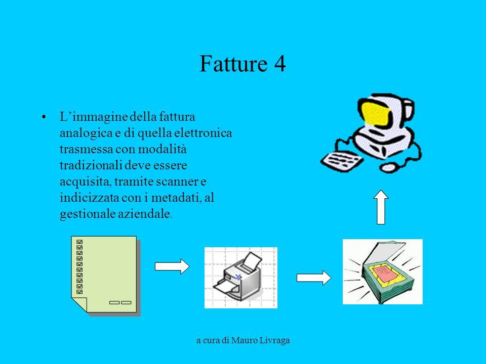 a cura di Mauro Livraga Fatture 4 Limmagine della fattura analogica e di quella elettronica trasmessa con modalità tradizionali deve essere acquisita,