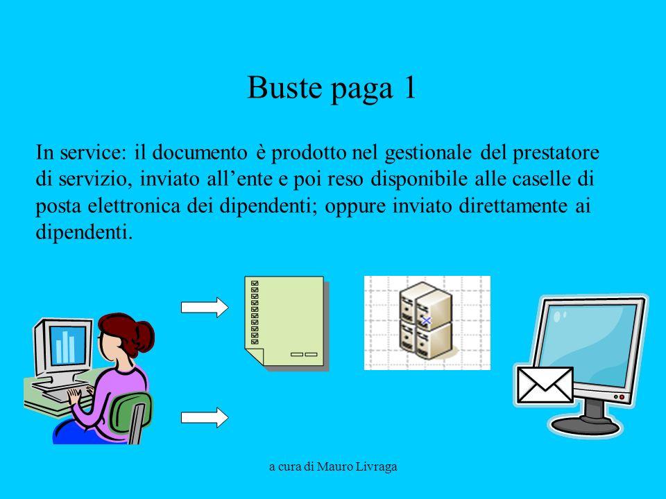 a cura di Mauro Livraga Buste paga 1 In service: il documento è prodotto nel gestionale del prestatore di servizio, inviato allente e poi reso disponibile alle caselle di posta elettronica dei dipendenti; oppure inviato direttamente ai dipendenti.