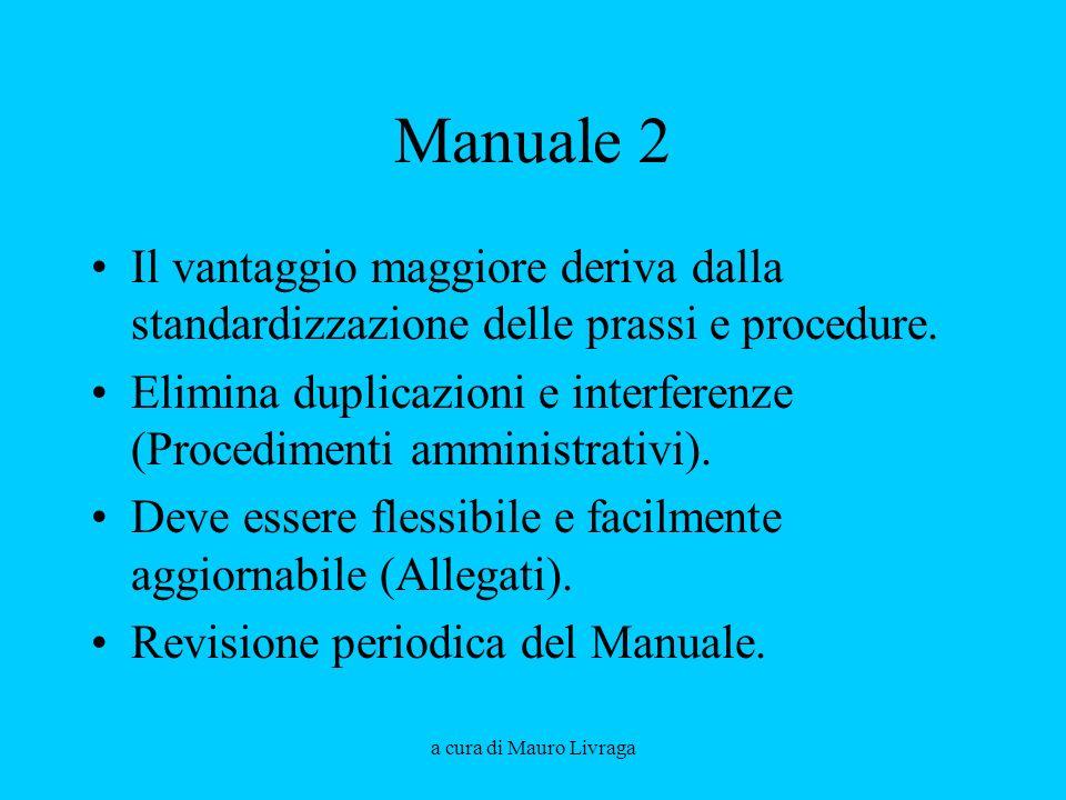 a cura di Mauro Livraga Manuale 2 Il vantaggio maggiore deriva dalla standardizzazione delle prassi e procedure. Elimina duplicazioni e interferenze (