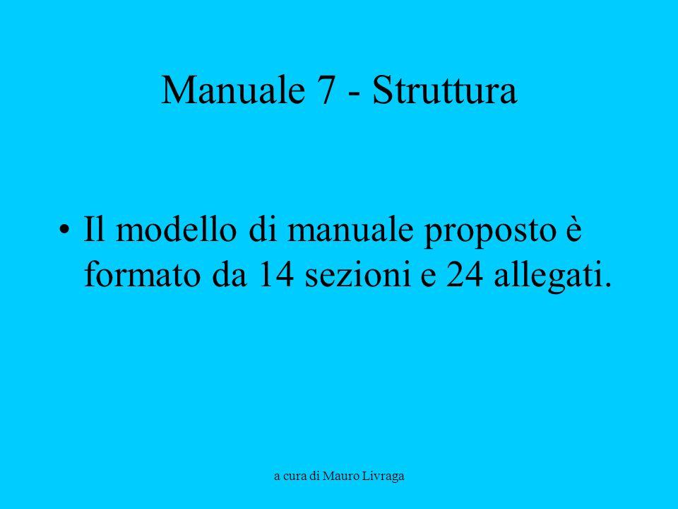 a cura di Mauro Livraga Manuale 7 - Struttura Il modello di manuale proposto è formato da 14 sezioni e 24 allegati.