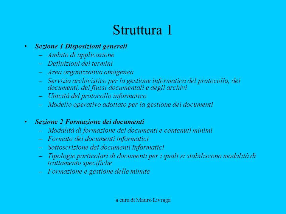 a cura di Mauro Livraga Struttura 1 Sezione 1 Disposizioni generali –Ambito di applicazione –Definizioni dei termini –Area organizzativa omogenea –Ser