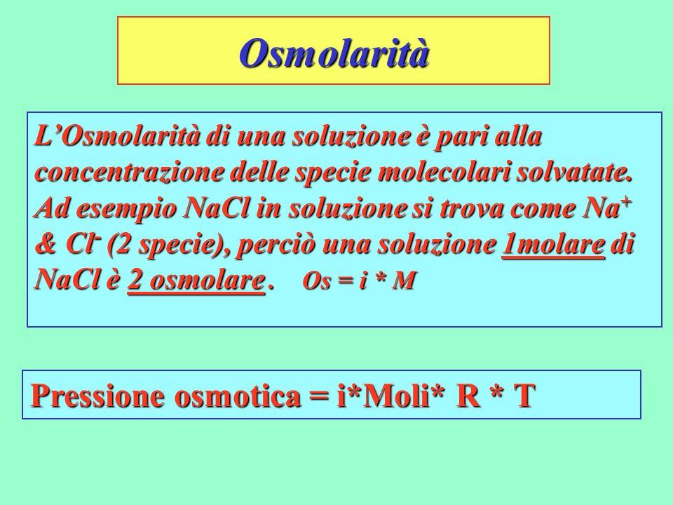 Osmolarità LOsmolarità di una soluzione è pari alla concentrazione delle specie molecolari solvatate. Ad esempio NaCl in soluzione si trova come Na +
