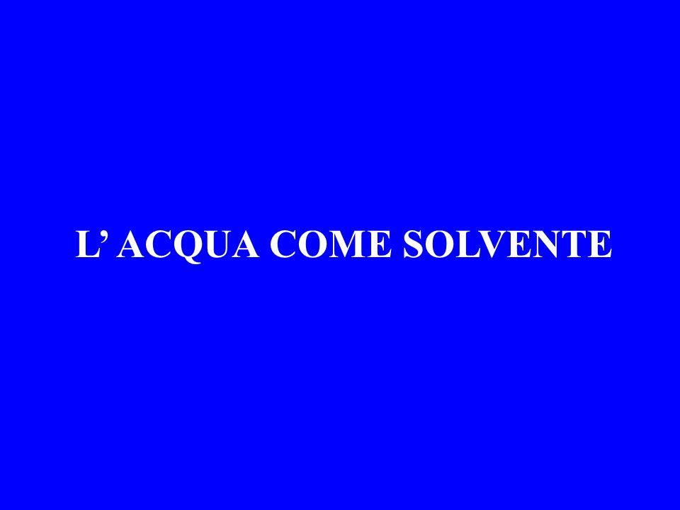 Calcolo della CONCENTRAZIONE La concentrazione di un soluto si ottiene calcolando il numero di MOLI di soluto x LITRO di soluzione Una MOLE di soluto corrisponde ad una quantità in GRAMMI pari al PESO MOLECOLARE del soluto