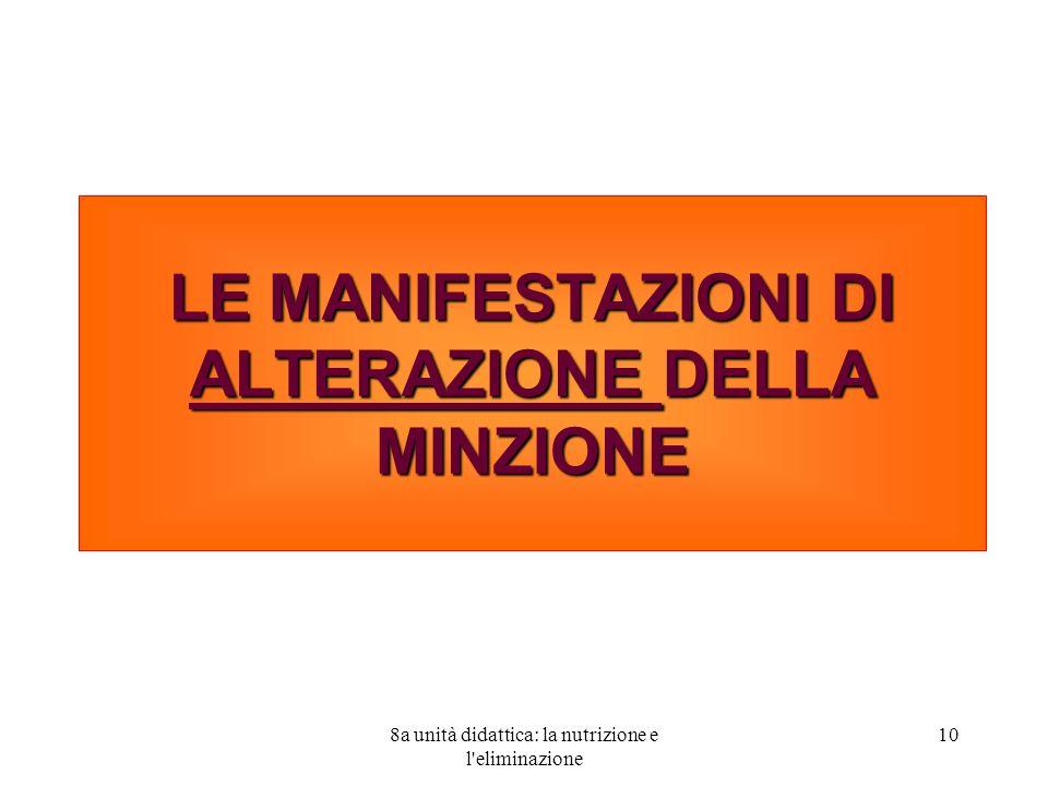 10 LE MANIFESTAZIONI DI ALTERAZIONE DELLA MINZIONE
