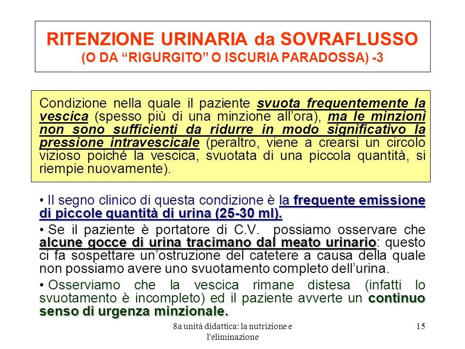 8a unità didattica: la nutrizione e l eliminazione 15 RITENZIONE URINARIA da SOVRAFLUSSO (O DA RIGURGITO O ISCURIA PARADOSSA) -3 Condizione nella quale il paziente svuota frequentemente la vescica (spesso più di una minzione allora), ma le minzioni non sono sufficienti da ridurre in modo significativo la pressione intravescicale (peraltro, viene a crearsi un circolo vizioso poiché la vescica, svuotata di una piccola quantità, si riempie nuovamente).
