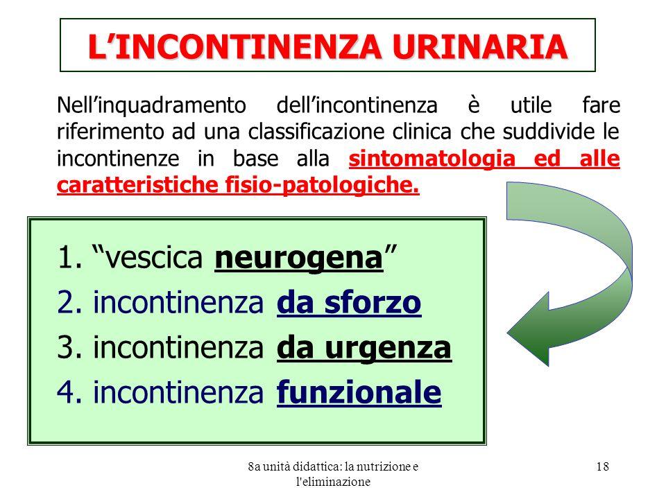 8a unità didattica: la nutrizione e l eliminazione 18 Nellinquadramento dellincontinenza è utile fare riferimento ad una classificazione clinica che suddivide le incontinenze in base alla sintomatologia ed alle caratteristiche fisio-patologiche.