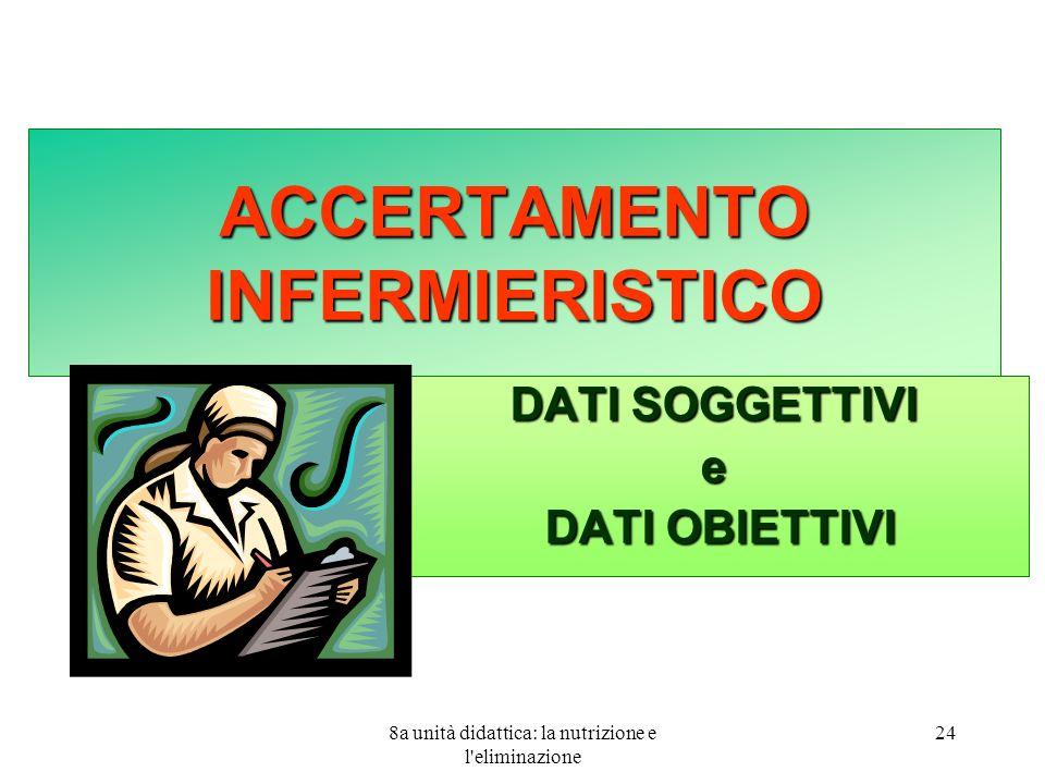 8a unità didattica: la nutrizione e l eliminazione 24 ACCERTAMENTO INFERMIERISTICO DATI SOGGETTIVI e DATI OBIETTIVI DATI OBIETTIVI