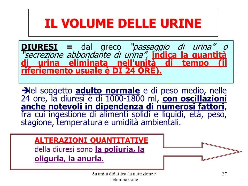 8a unità didattica: la nutrizione e l eliminazione 27 IL VOLUME DELLE URINE DIURESI = DIURESI = dal greco passaggio di urina o secrezione abbondante di urina, indica la quantità di urina eliminata nell unità di tempo (il riferiemento usuale è DI 24 ORE).