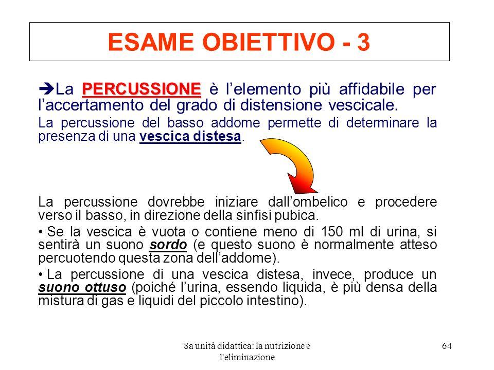 8a unità didattica: la nutrizione e l eliminazione 64 ESAME OBIETTIVO - 3 PERCUSSIONE La PERCUSSIONE è lelemento più affidabile per laccertamento del grado di distensione vescicale.