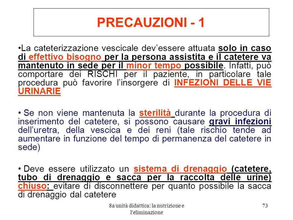 8a unità didattica: la nutrizione e l eliminazione 73 PRECAUZIONI - 1 La cateterizzazione vescicale devessere attuata solo in caso di effettivo bisogno per la persona assistita e il catetere va mantenuto in sede per il minor tempo possibile.