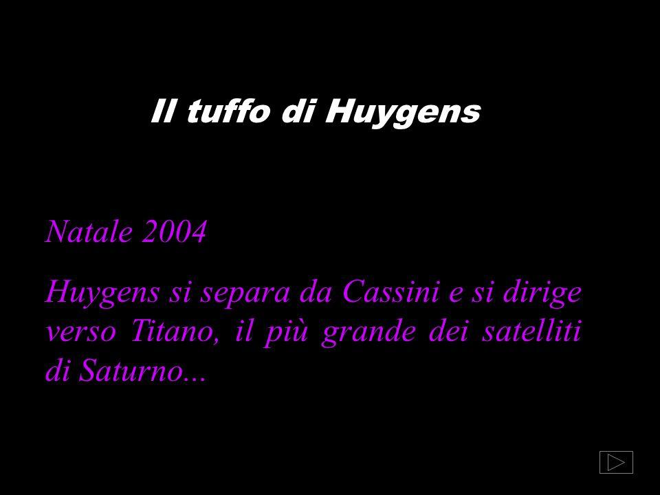 Il tuffo di Huygens Natale 2004 Huygens si separa da Cassini e si dirige verso Titano, il più grande dei satelliti di Saturno...