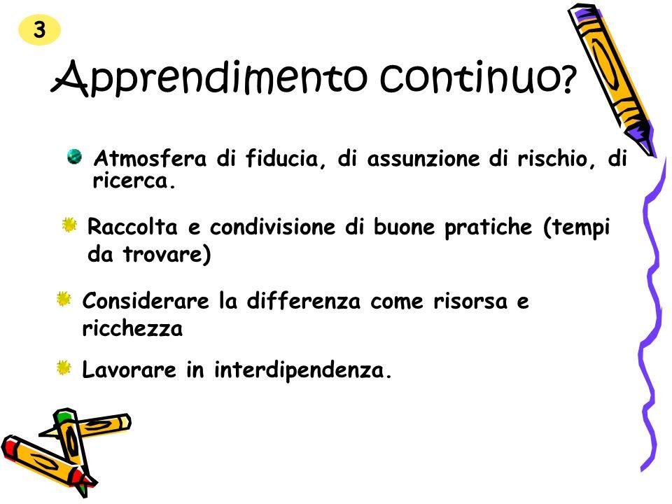 Apprendimento continuo? Considerare la differenza come risorsa e ricchezza Atmosfera di fiducia, di assunzione di rischio, di ricerca. 3 Lavorare in i