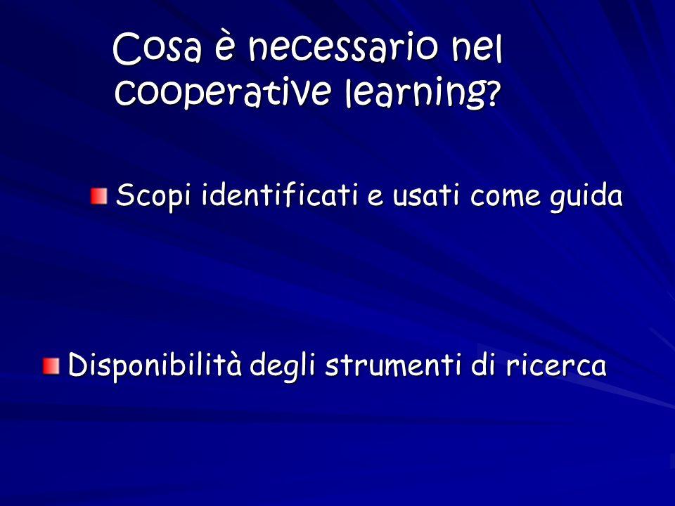 Cosa è necessario nel cooperative learning? Scopi identificati e usati come guida Disponibilità degli strumenti di ricerca