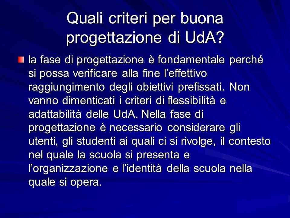 Quali criteri per buona progettazione di UdA? la fase di progettazione è fondamentale perché si possa verificare alla fine leffettivo raggiungimento d