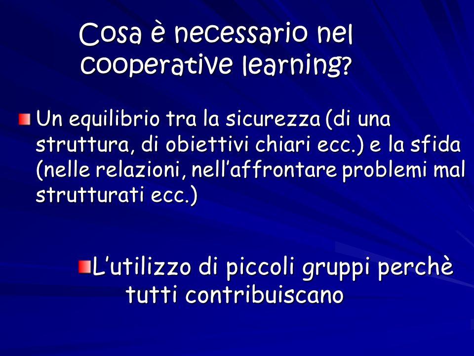 Cosa è necessario nel cooperative learning? Un equilibrio tra la sicurezza (di una struttura, di obiettivi chiari ecc.) e la sfida (nelle relazioni, n