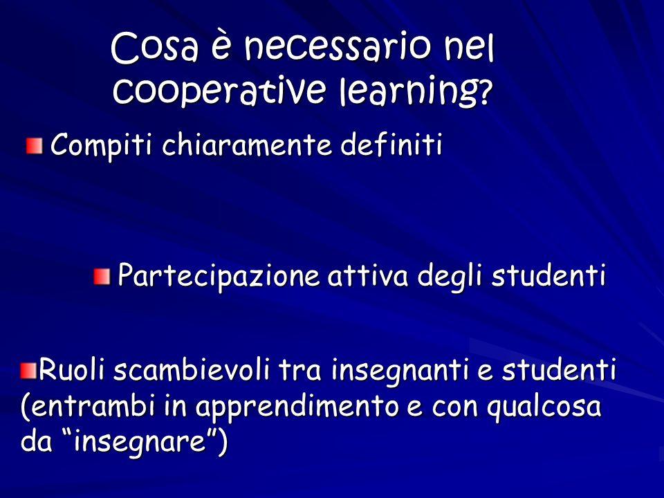 Cosa è necessario nel cooperative learning? Compiti chiaramente definiti Partecipazione attiva degli studenti Ruoli scambievoli tra insegnanti e stude