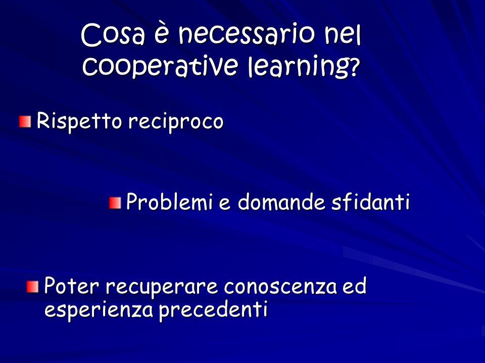 Cosa è necessario nel cooperative learning? Rispetto reciproco Problemi e domande sfidanti Poter recuperare conoscenza ed esperienza precedenti