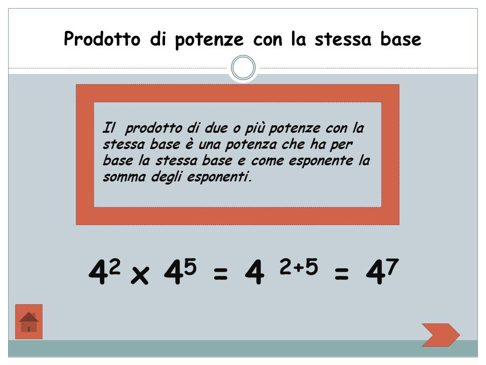 Prodotto di potenze con la stessa base Il prodotto di due o più potenze con la stessa base è una potenza che ha per base la stessa base e come esponente la somma degli esponenti.