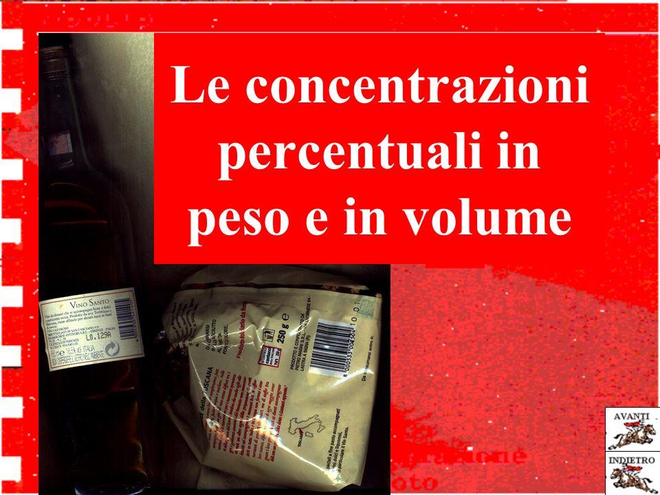 Le concentrazioni percentuali in peso e in volume