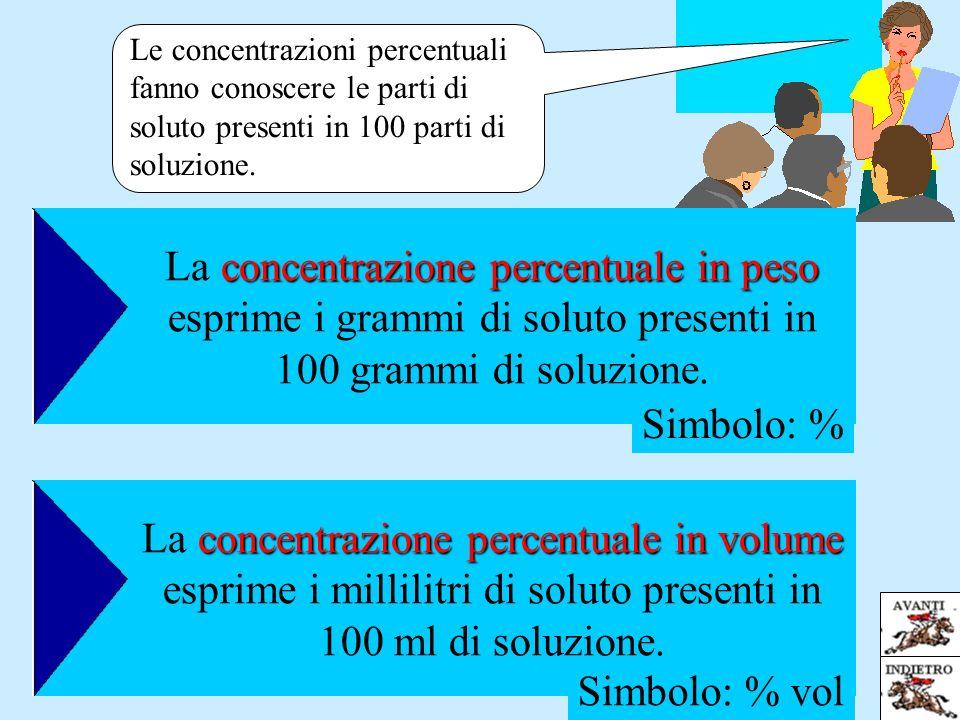 concentrazione percentuale in peso La concentrazione percentuale in peso esprime i grammi di soluto presenti in 100 grammi di soluzione. concentrazion