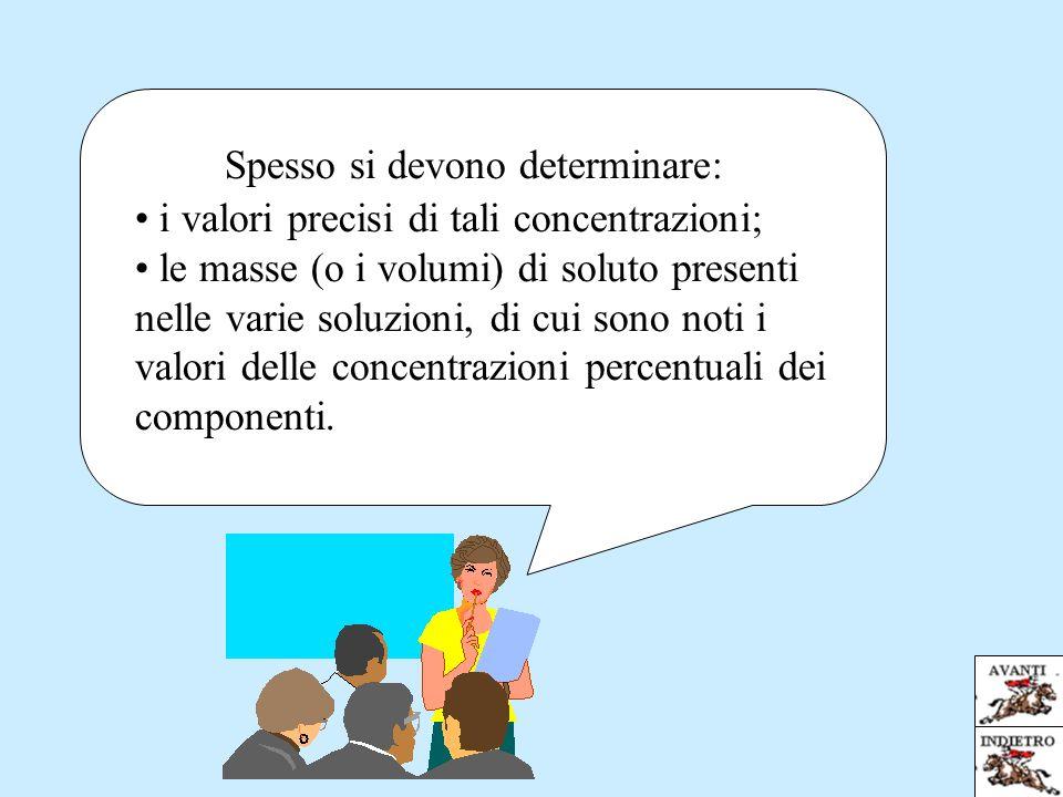 i valori precisi di tali concentrazioni; le masse (o i volumi) di soluto presenti nelle varie soluzioni, di cui sono noti i valori delle concentrazioni percentuali dei componenti.