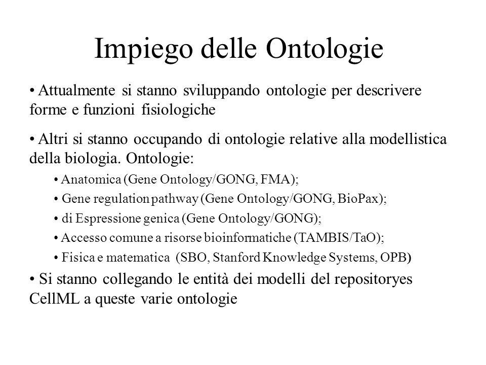 Impiego delle Ontologie Attualmente si stanno sviluppando ontologie per descrivere forme e funzioni fisiologiche Altri si stanno occupando di ontologie relative alla modellistica della biologia.