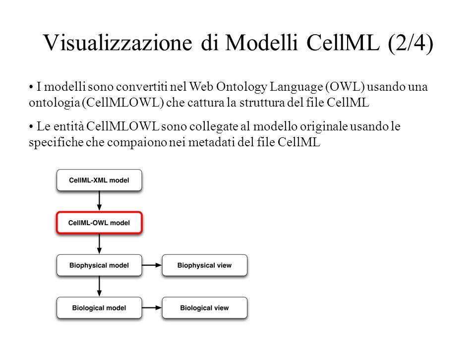 Visualizzazione di Modelli CellML (2/4) I modelli sono convertiti nel Web Ontology Language (OWL) usando una ontologia (CellMLOWL) che cattura la struttura del file CellML Le entità CellMLOWL sono collegate al modello originale usando le specifiche che compaiono nei metadati del file CellML