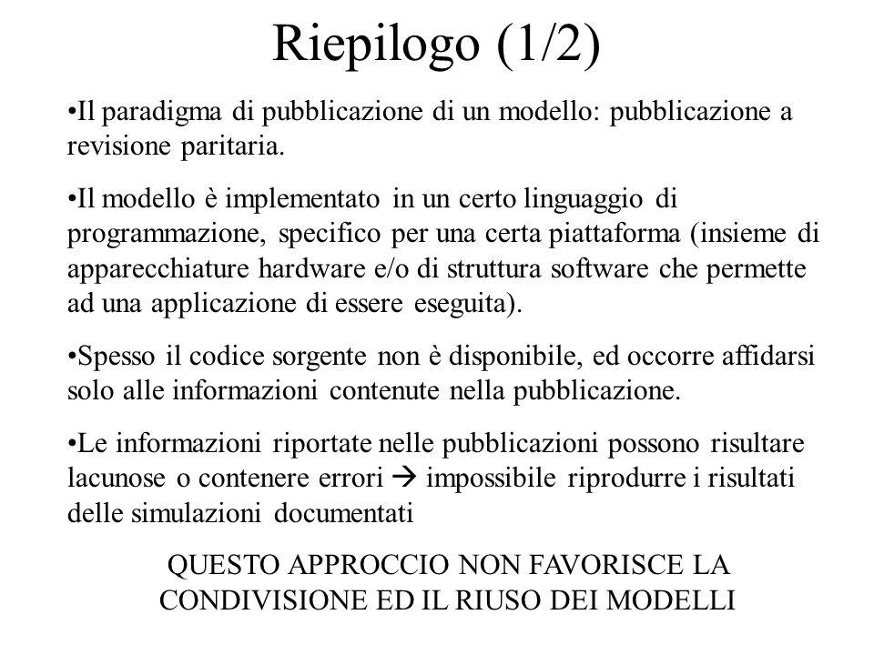 Riepilogo (1/2) Il paradigma di pubblicazione di un modello: pubblicazione a revisione paritaria.