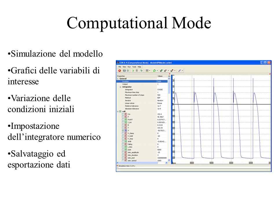 Computational Mode Simulazione del modello Grafici delle variabili di interesse Variazione delle condizioni iniziali Impostazione dellintegratore numerico Salvataggio ed esportazione dati