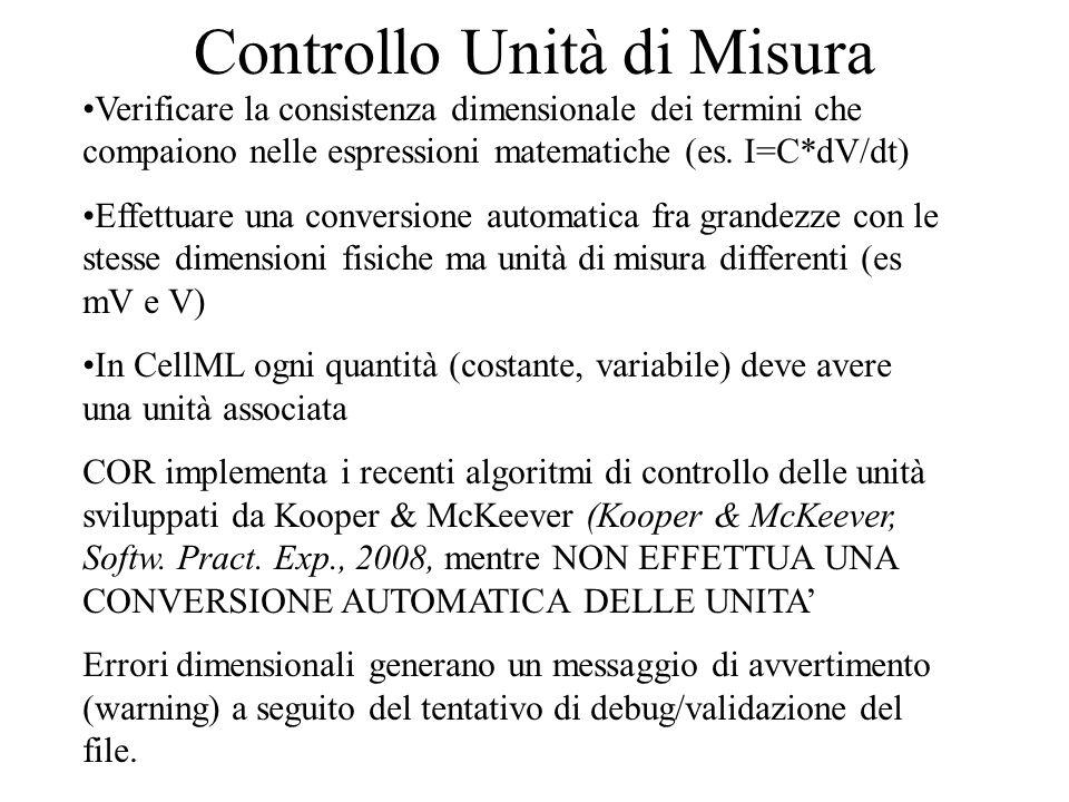 Controllo Unità di Misura Verificare la consistenza dimensionale dei termini che compaiono nelle espressioni matematiche (es.
