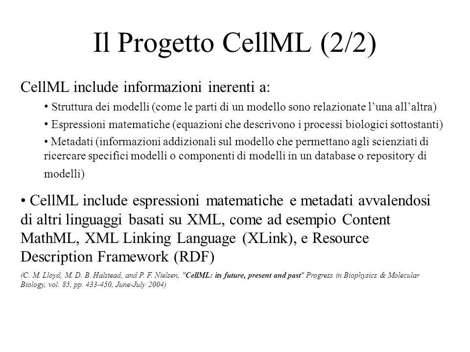 Il Progetto CellML (2/2) CellML include informazioni inerenti a: Struttura dei modelli (come le parti di un modello sono relazionate luna allaltra) Espressioni matematiche (equazioni che descrivono i processi biologici sottostanti) Metadati (informazioni addizionali sul modello che permettano agli scienziati di ricercare specifici modelli o componenti di modelli in un database o repository di modelli) CellML include espressioni matematiche e metadati avvalendosi di altri linguaggi basati su XML, come ad esempio Content MathML, XML Linking Language (XLink), e Resource Description Framework (RDF) (C.