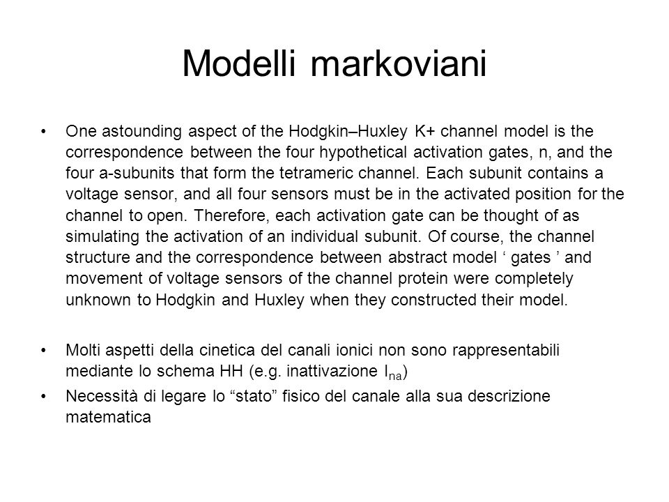 Modelli markoviani One astounding aspect of the Hodgkin–Huxley K+ channel model is the correspondence between the four hypothetical activation gates,