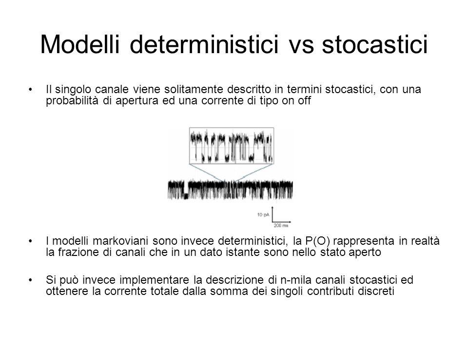 Modelli deterministici vs stocastici Il singolo canale viene solitamente descritto in termini stocastici, con una probabilità di apertura ed una corrente di tipo on off I modelli markoviani sono invece deterministici, la P(O) rappresenta in realtà la frazione di canali che in un dato istante sono nello stato aperto Si può invece implementare la descrizione di n-mila canali stocastici ed ottenere la corrente totale dalla somma dei singoli contributi discreti