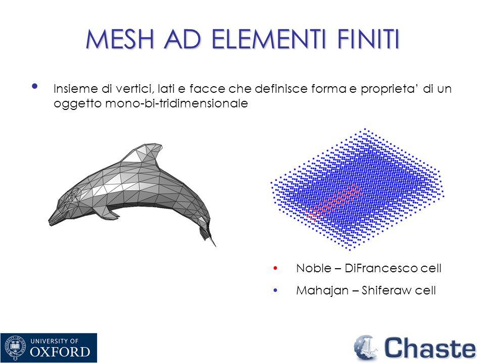 MESH AD ELEMENTI FINITI Insieme di vertici, lati e facce che definisce forma e proprieta di un oggetto mono-bi-tridimensionale Noble – DiFrancesco cell Mahajan – Shiferaw cell