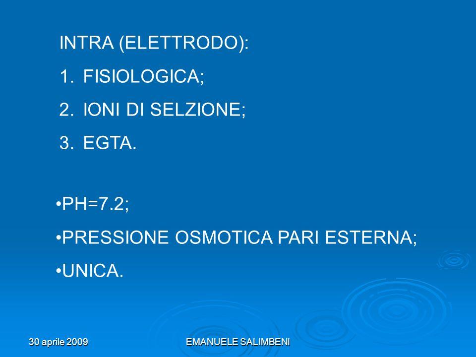 30 aprile 2009EMANUELE SALIMBENI INTRA (ELETTRODO): 1.FISIOLOGICA; 2.IONI DI SELZIONE; 3.EGTA. PH=7.2; PRESSIONE OSMOTICA PARI ESTERNA; UNICA.