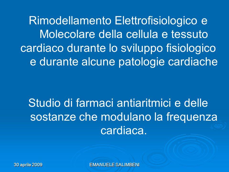 30 aprile 2009EMANUELE SALIMBENI Rimodellamento Elettrofisiologico e Molecolare della cellula e tessuto cardiaco durante lo sviluppo fisiologico e dur
