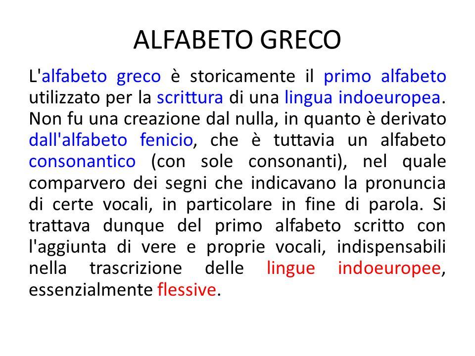 ALFABETO GRECO L'alfabeto greco è storicamente il primo alfabeto utilizzato per la scrittura di una lingua indoeuropea. Non fu una creazione dal nulla
