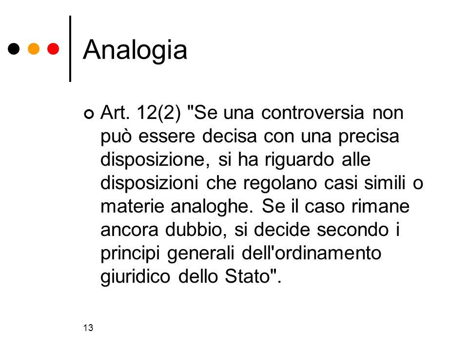 13 Analogia Art. 12(2)