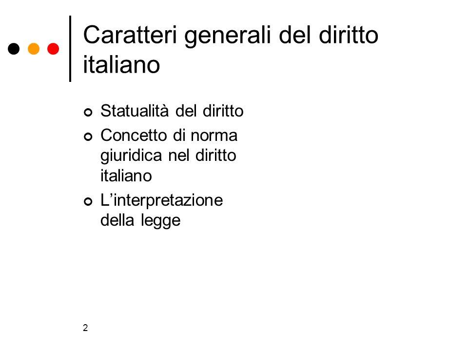 2 Statualità del diritto Concetto di norma giuridica nel diritto italiano Linterpretazione della legge