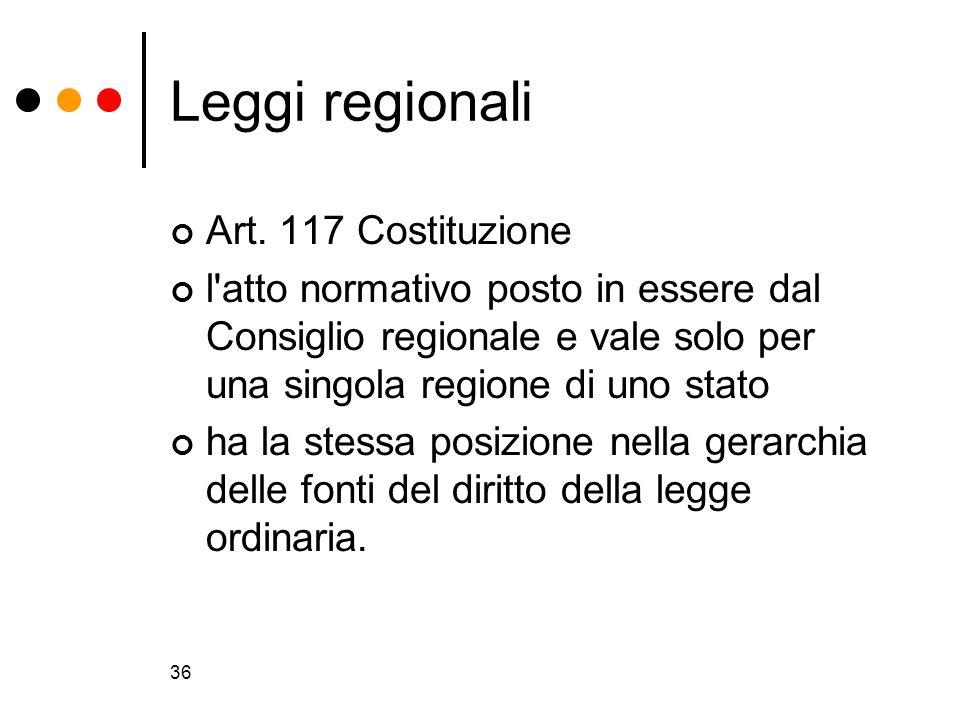 36 Leggi regionali Art. 117 Costituzione l'atto normativo posto in essere dal Consiglio regionale e vale solo per una singola regione di uno stato ha