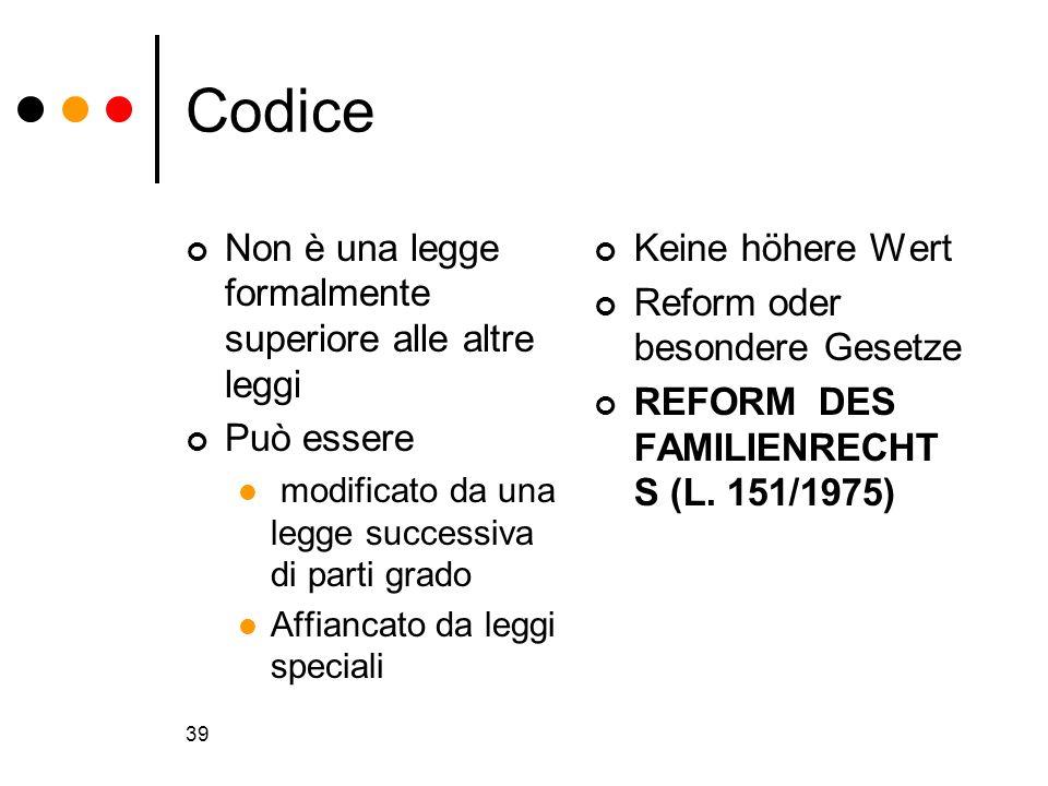 39 Codice Non è una legge formalmente superiore alle altre leggi Può essere modificato da una legge successiva di parti grado Affiancato da leggi spec