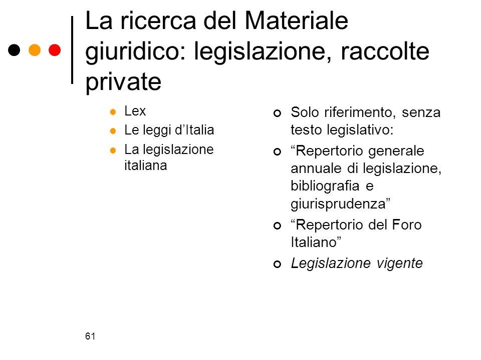61 La ricerca del Materiale giuridico: legislazione, raccolte private Lex Le leggi dItalia La legislazione italiana Solo riferimento, senza testo legi