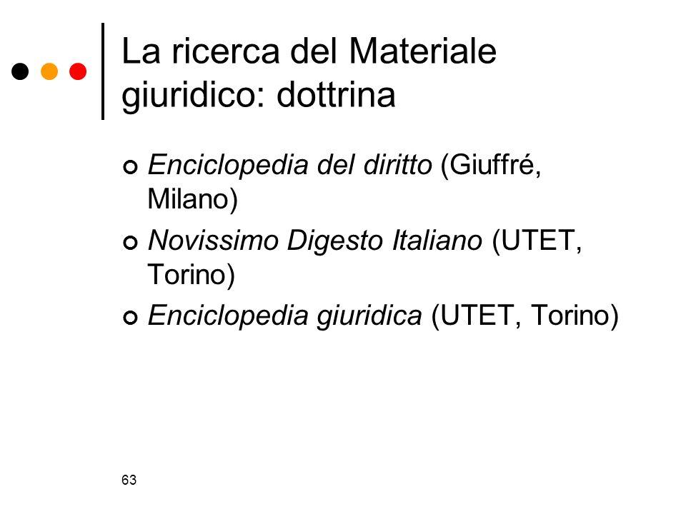 63 La ricerca del Materiale giuridico: dottrina Enciclopedia del diritto (Giuffré, Milano) Novissimo Digesto Italiano (UTET, Torino) Enciclopedia giur
